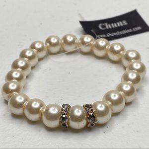Pearl & Diamond Stretch Bracelet Costume  Solid